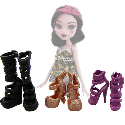 """6 Pcs = 3 Pairs Boots High Heel Shoes Sandals Acces For Monster High 10"""" Doll"""