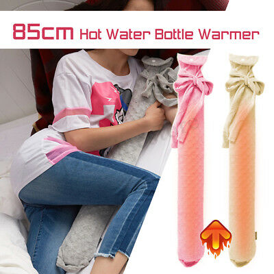 2.6L PVC Extra Long Hot Water Bottles Bag Knitted Removable Cover Body Shoulder