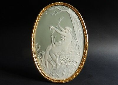 """Oval Venus disarming Cupid Pate-sur-Pate framed Plaque Camille Tharaud 8 1/4"""""""