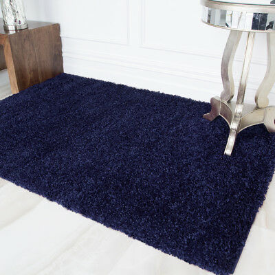 Best Navy Blue Shaggy Fluffy Soft Warm Small Large Sizes Cheap Room Rug Mat UK