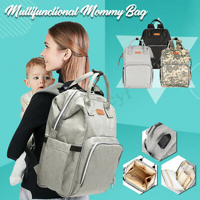 Charging Mummy Maternity Backpack Large Capacity Nappy Diaper Baby Changing Bag