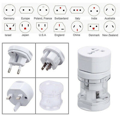 All-In-One International Travel Power Charger Plug Universal Adapter White Multi