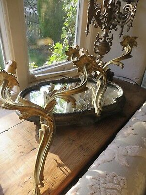 Handsome Pair Of Vtg.french Solid Brass Acanthus Scroll Wall Lights / Sconces ~