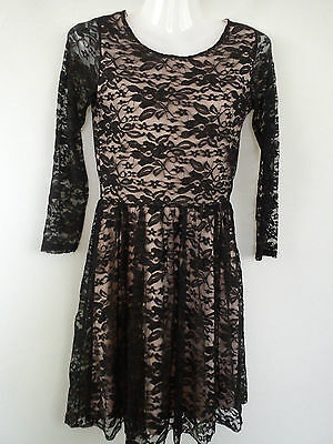 Nice Black Lace Quiz Womens Ladies Skater Dress Size 8  (0.2)