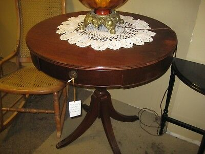 Antique Mahogany Drum Table,  Vintage Room Ready Condition