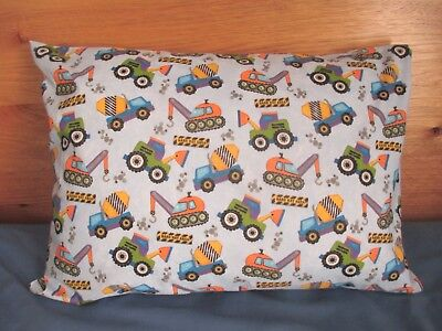 Toddler / Child Pillowcase - Construction Vehicles / Blue - Handmade FREE POST