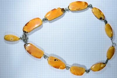 Old genuine Egg Yolk Honey tiger Butterscotch Baltic Amber beads Necklace 49.1g