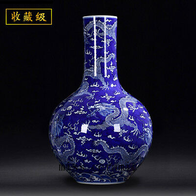 "17"" Qing Qianlong mark China jingdezhen Porcelain Blue & white dragon Vase"
