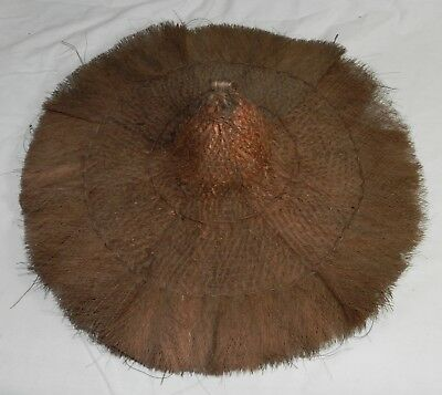 Vintage / Antique Hat with Wide Brim made of Woven Fibers or Grass