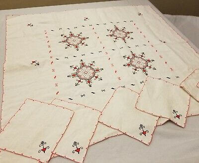 Vintage Embroidered Table Cloth with 6 Matching Napkins Red Lace Unique Decor