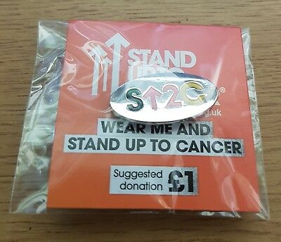 """Brand New & Sealed """"STAND UP TO CANCER CHARITY"""" Pin Badge (Same Day Dispatch !!)"""