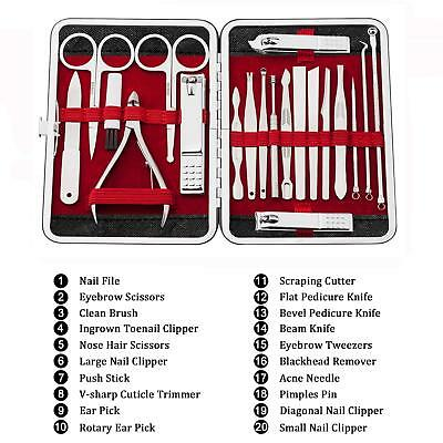 SET OF 20PCS Manicure Set Nail Clippers for Men and Women ...