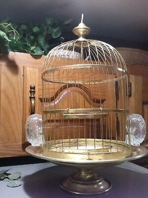 Antique Vtg Victorian BIRD CAGE  Brass Hendryx Pedestal RARE Turn of The Century