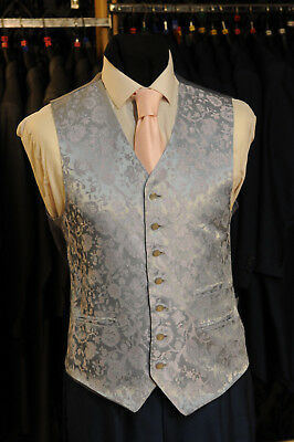 W - 1029 Silver - Blue Floral Formal Wedding Waistcoat