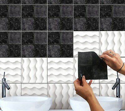 """6"""" Grey Black Tile Sticker Mosaic Decal Kitchen Bathroom Transfer Stone Cover Up"""