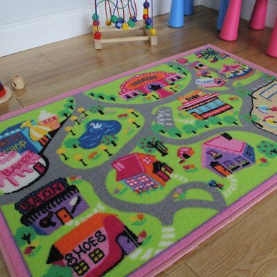 The Rug House Cheap Pink Girls Doll World Non-Slip Washable Childrens Play Mats
