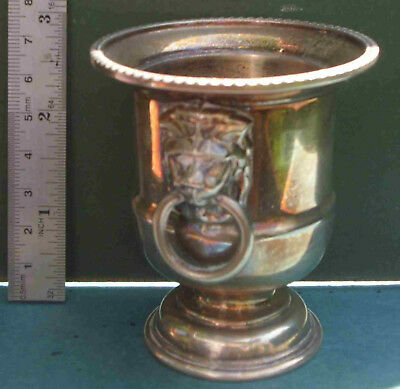 Silver Plated Urn, Free P&P, Vase Posy Pot Lion Heads Viners Toothpick Cocktail
