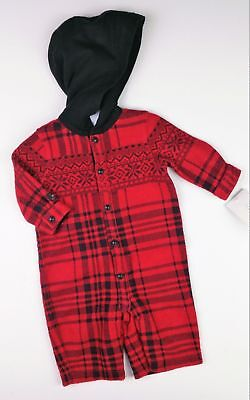 Baby Boys Clothes RALPH LAUREN Red/Black Hooded Romper Coverall 0-3 Months BNWT