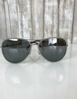 5af96c86970d7 NWOT-Authentic Chanel Silver Gray Leather Aviator Pilot Sunglasses-Style   4219-