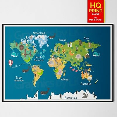 Children's Animal Map of the World Poster Print for Kids Room | A4 A3 A2 A1 |