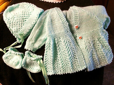 Vintage 4 Pc Set Handmade Hand Knit White Baby Sweater Cardigan Hat Booties Set