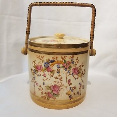 Antique Biscuit Jar Ceramic Crown Devon Fieldings Stoke on Trent England May