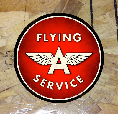 "Vintage Flying A Decal Sticker Distressed Oil Gas Old school 4"" Inch - 3 for 1"