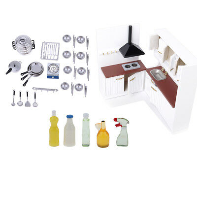 1/12 Dollhouse Miniature Furniture Cabinet Cupboard Tableware Cleaning Sets