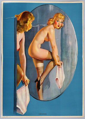 Vintage 1940s Gil Elvgren Pin-Up Poster Startled Nude in Mirror Over Exposure