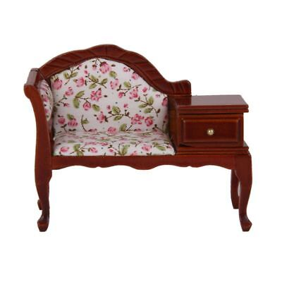1/12 Dollhouse Miniature Furniture Wooden Floral Recliner with Drawer N3Y5