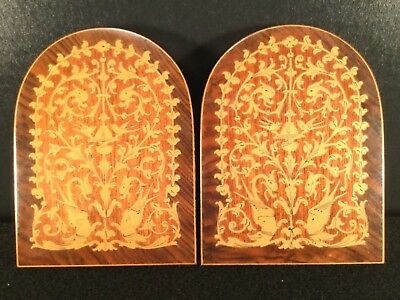 Vintage Italy Marquetry Bookends Satinwood