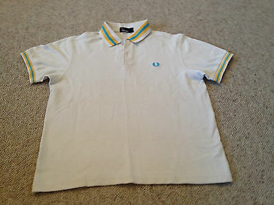 Fred Perry Boys / Youths Polo Shirt Off White Blue /Yellow Trim (K)