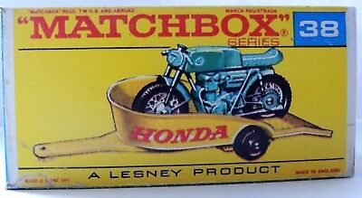 Matchbox Lesney 38 Honda M/ Cycle & Trailer   Repro  style F Box