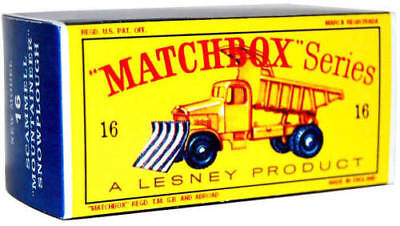 "Matchbox Lesney 16  SCAMMELL ""MOUNTAINEER"" SNOWPLOUGH empty Repro E style Box"