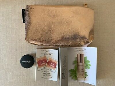 bareMinerals Skinsorials & Gen Nude patent lip Lacquer & Mineral Veil with bag