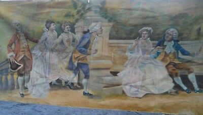 ANTIQUE Victorian HAND PAINTED Garden Courting SCENE TAPESTRY SIGNED  dated 1904