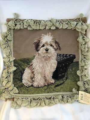 "Shih Tzu? Dog Petit Point Needlepoint 16"" Square Velveteen Back w/Fringe"