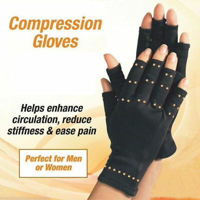 Arthritis Gloves Fingerless Copper Fit Compression Medical Support Unisex 1 Pair