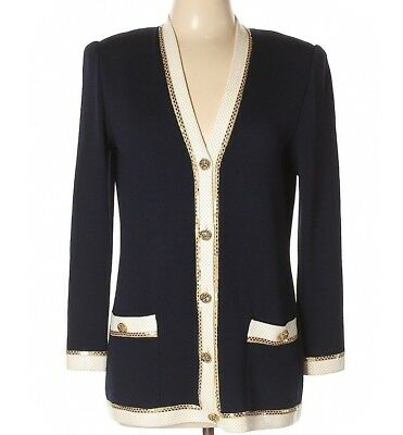 St. John Evening by Marie Gray Navy Santana Knit Jacket Sz 8 Gold & Cream Trim