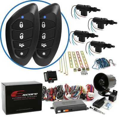 Encore E6 1-Way Remote Start Keyless Entry Car Alarm and 4-Door Power Lock Kit