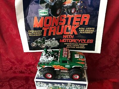 "2007 Hess ""monster Truck With Motorcycles""-With Bag And New In Box"