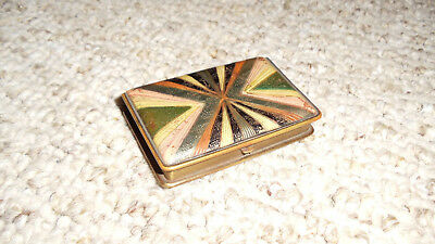 Antique Art Nouveau MONDAINE Brass Vanity Makeup Compact/Pill Box 2 X 3 Inches