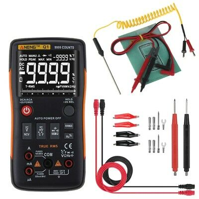 Q1 True-RMS Digital Multimeter Button 9999 Counts Analog Bar Graph AC/DC Tester
