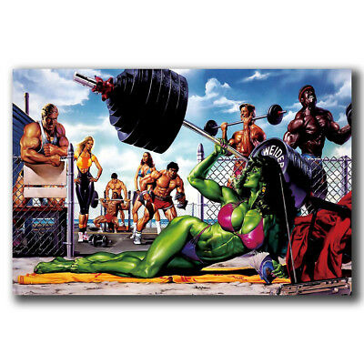 B-183 Superhero Comic She-Hulk Bodybuilding Fitness Funny Hot Art Poster 27x40In