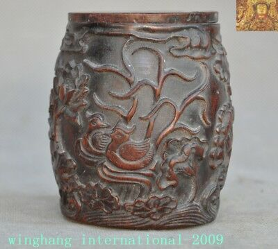 Collect Rare China Natural Old Ox Horn Carved mandarin duck fish Drum Box Boxes