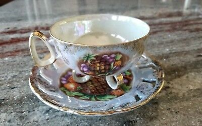 Vintage L M Royal Halsey Fruit Gold Trim Footed Tea Cup/saucer Very Fine China