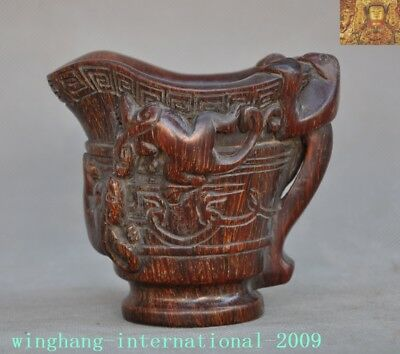 "4""Chinese Old Ox horn carved Brave troops Pixiu Ox horns Wine vessel Goblet Cup"
