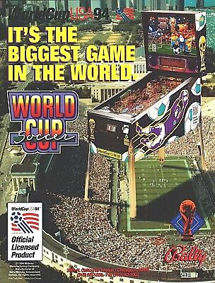 Vintage 1994 BALLY WORLD CUP SOCCER Pinball Flyer / Ad / Sales Brochure