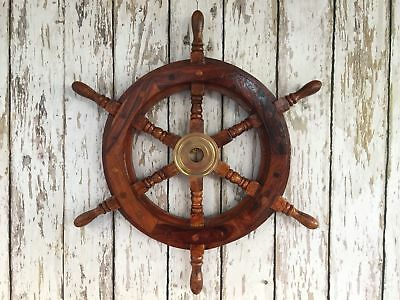 "18"" Wood And Brass Ship Wheel ~ Nautical Maritime Wall Decor ~ Pirate Captain"