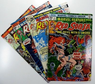 MARVEL FEATURE (1975 Series) #3 4 6 7 Key RED SONJA Lot BRONZE AGE Ships FREE!